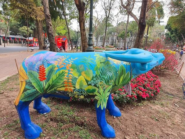 Trâu nghệ thuật 'xuống phố' khiến người dân Thủ đô tò mò thích thú ảnh 3