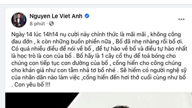 """Việt Anh đau đớn khi nghe tin """"bố"""" Hoàng Dũng mất ảnh 1"""