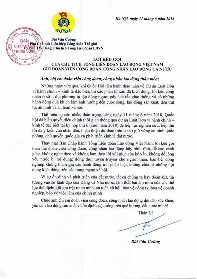 Tổng LĐLĐ VN kêu gọi công nhân không để lòng yêu nước bị lợi dụng ảnh 1
