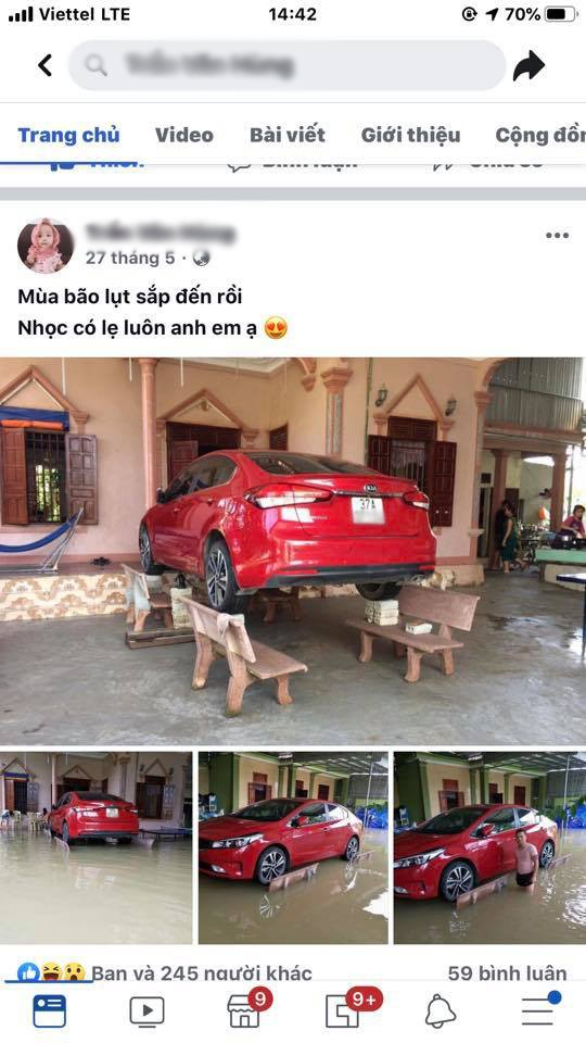 Chủ xe ở Nghệ An chống ngập cho ôtô nhờ ghế đá và gạch ảnh 4