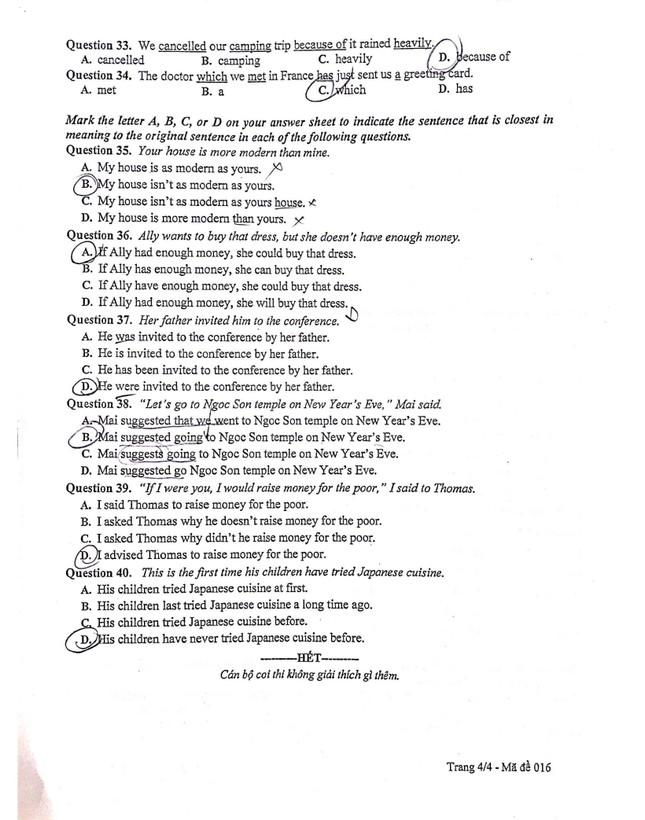 Gợi ý đáp án đề thi môn Tiếng Anh kỳ thi tuyển sinh lớp 10 THPT của Hà Nội ảnh 4