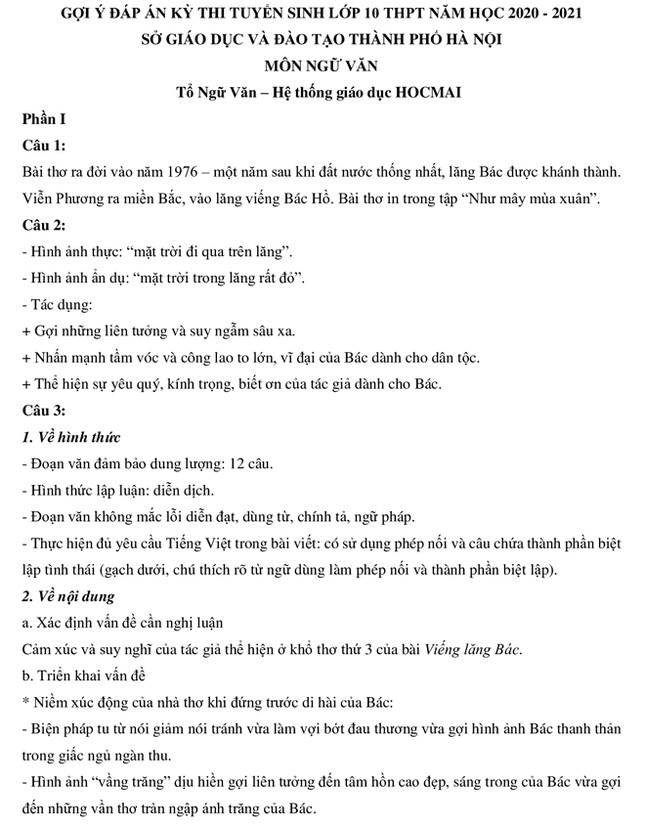 Nhận xét, gợi ý giải đề ngữ văn thi lớp 10 ở Hà Nội ảnh 2