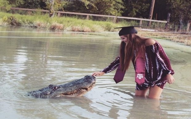 """Tận mắt nữ sinh viên Mỹ mừng tốt nghiệp ĐH bằng xuống đầm lầy vờn cá sấu """"khủng""""  ảnh 1"""