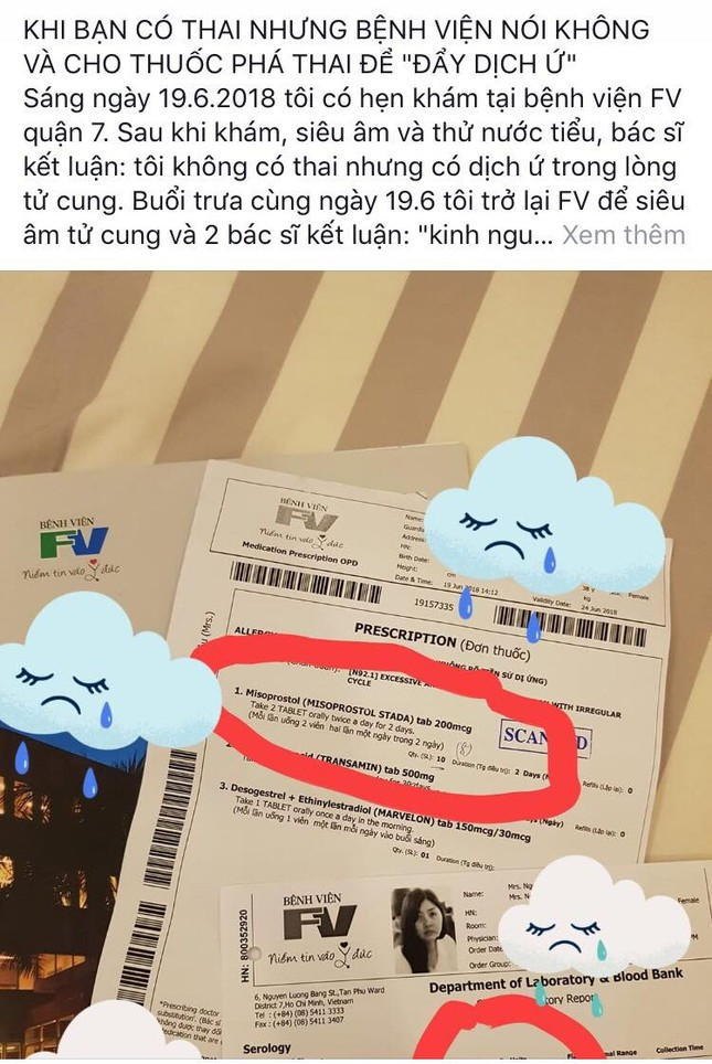 Bệnh viện FV bị tố cấp thuốc phá thai cho bệnh nhân mang thai ảnh 1