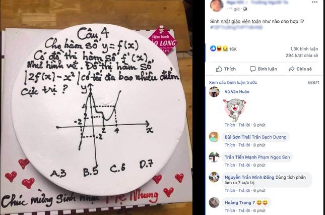 Học trò tặng bánh kem 'hại não' với bài tập hàm số ảnh 1