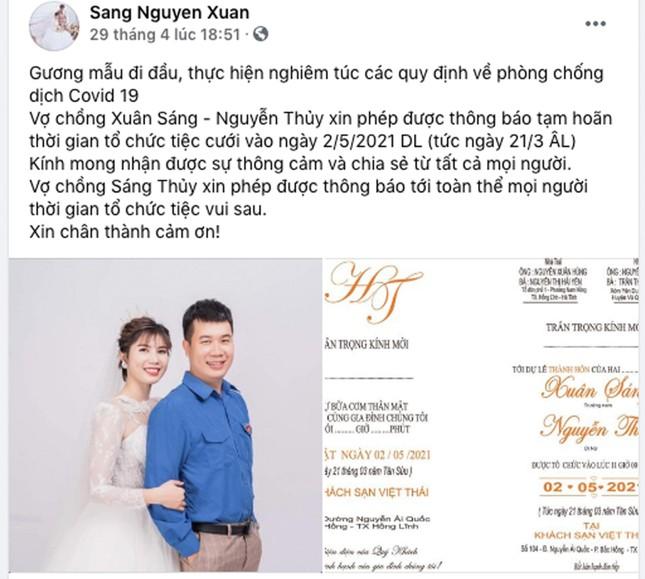 Bí thư Đoàn ở Hà Tĩnh hoãn đám cưới để phòng chống dịch COVID-19 ảnh 1