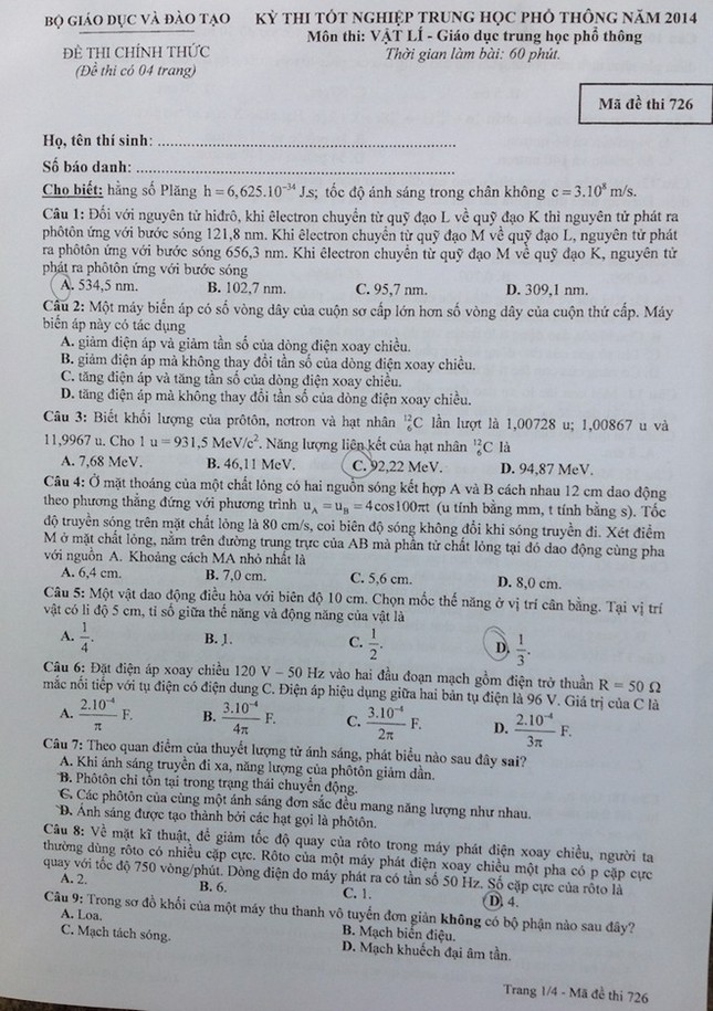 Bài giải đề thi tốt nghiệp môn Vật lí ảnh 1