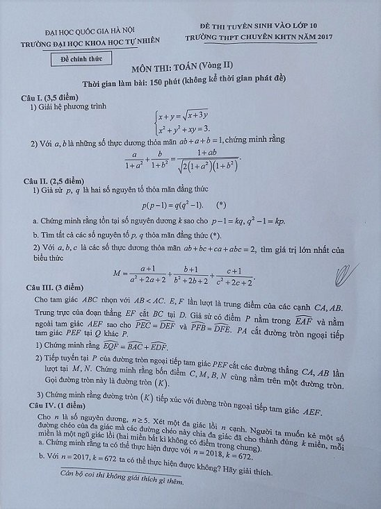 Đề thi lớp 10 chuyên toán khó nhưng hay ảnh 1