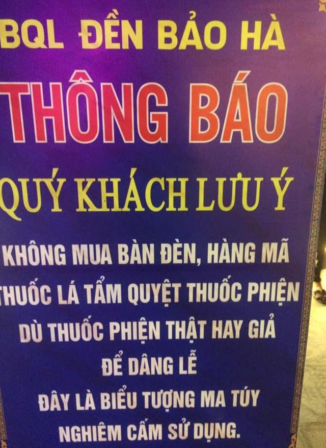 Cấm khách lễ đền Bảo Hà đưa hàng mã tẩm thuốc phiện vào đồ cúng ảnh 1
