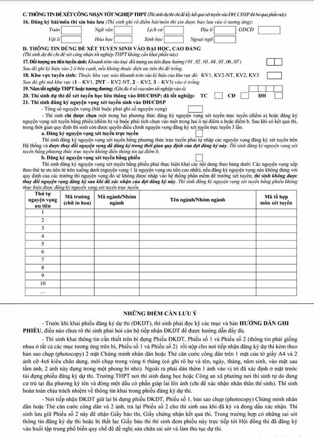Không muốn trượt ĐH, đừng để sai sót khi điền phiếu dự thi tốt nghiệp THPT 2021 ảnh 2