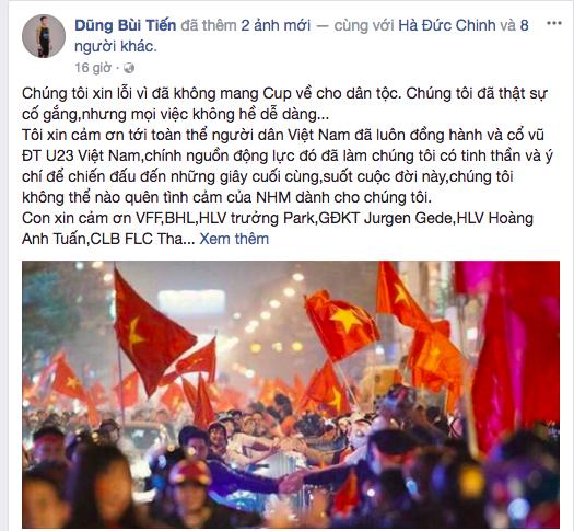 Dàn sao Việt nói 'lời gan ruột' khi Tiến Dũng xin lỗi vì thua Uzbekistan ảnh 1