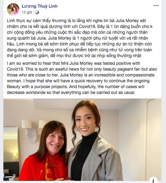 Hoa hậu Tiểu Vy, Lương Thuỳ Linh lo lắng khi Julia Morley mắc Covid-19 ảnh 2