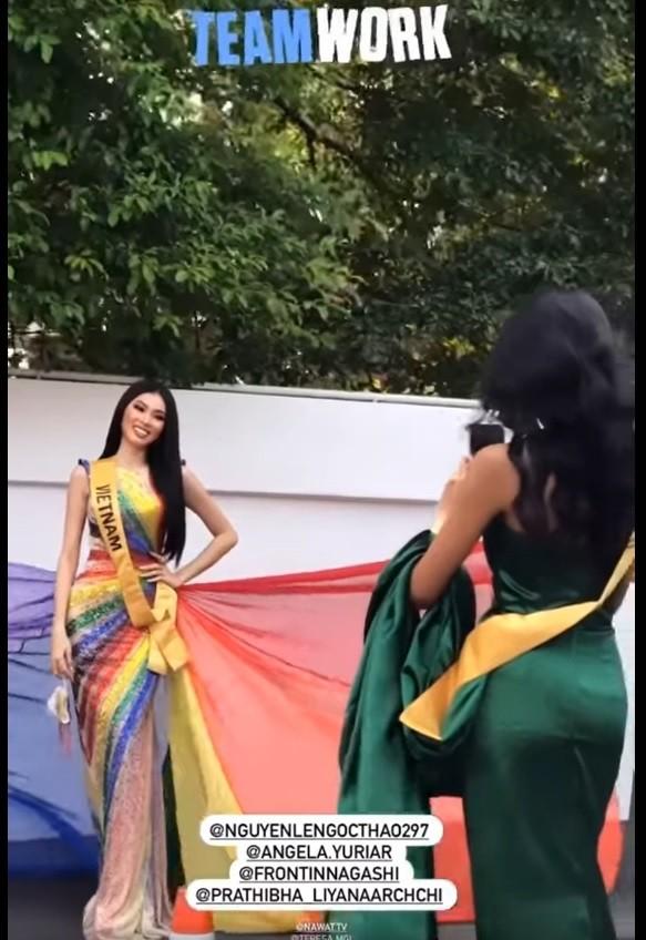 Mặc lại váy lục sắc của Hương Giang, Ngọc Thảo nổi bật tại buổi chụp hình ở Miss Grand ảnh 9