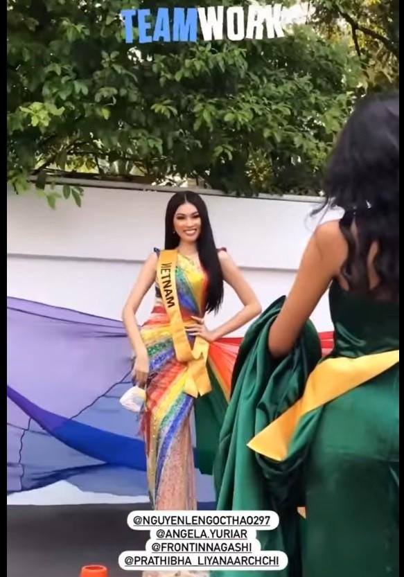 Mặc lại váy lục sắc của Hương Giang, Ngọc Thảo nổi bật tại buổi chụp hình ở Miss Grand ảnh 8