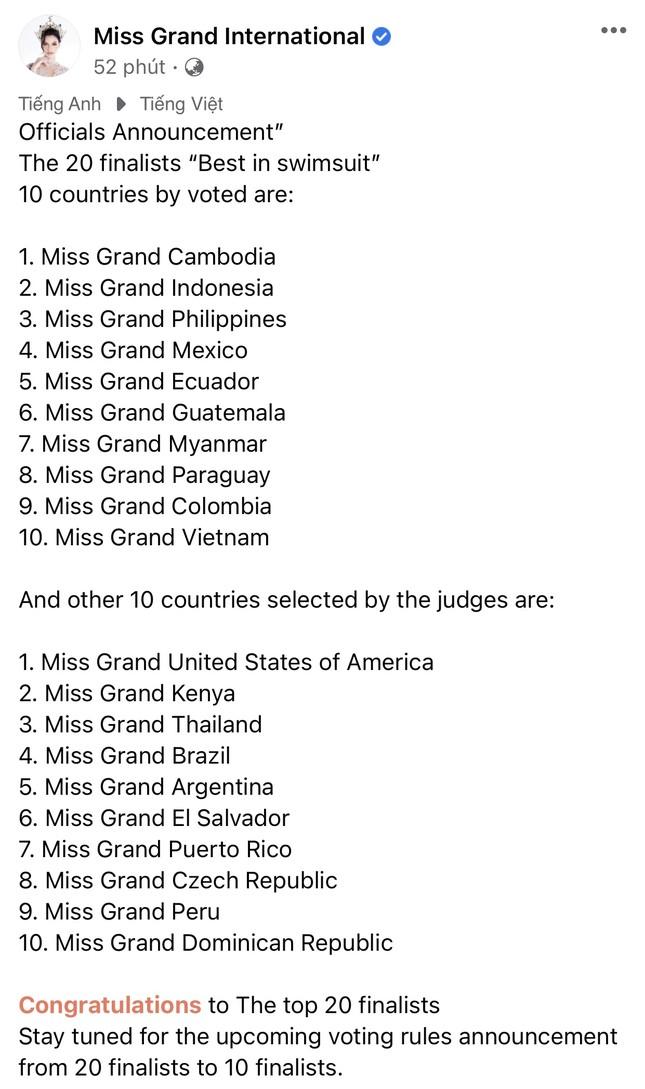 Á hậu Ngọc Thảo lọt top 20 trình diễn bikini tại Miss Grand nhờ bình chọn của khán giả ảnh 1