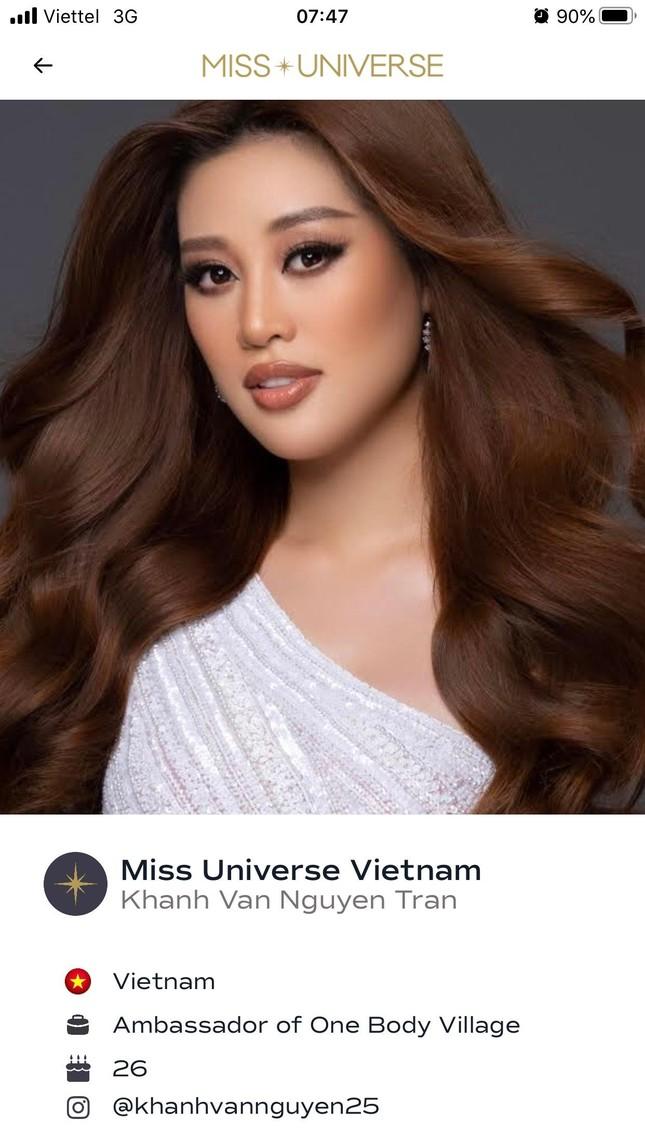 Ảnh profile chính thức của Khánh Vân được đăng tải trên trang chủ Miss Universe ảnh 1