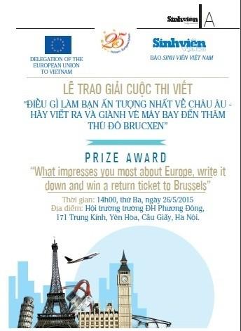 Trao giải cuộc thi viết về châu Âu ảnh 1