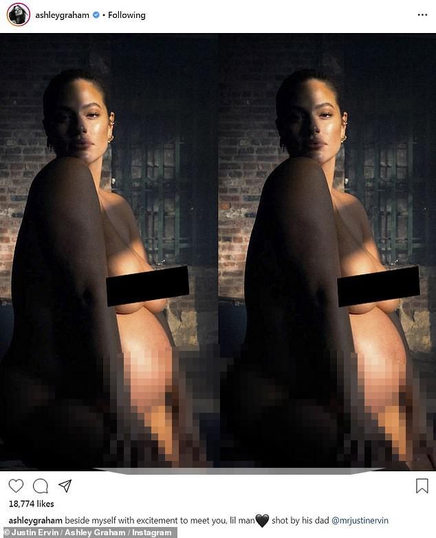 Siêu mẫu ngoại cỡ Ashley Graham tung ảnh khoả thân khi ở cuối thai kỳ ảnh 1