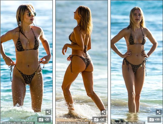Mẫu 9x Anh quốc mặc bikini bé xíu, tôn đường cong tuyệt mỹ ở biển ảnh 1