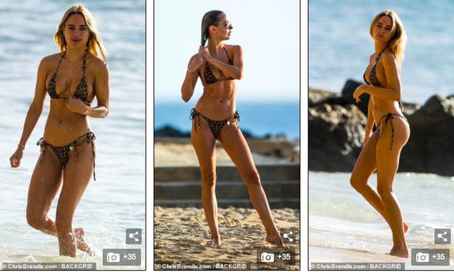 Mẫu 9x Anh quốc mặc bikini bé xíu, tôn đường cong tuyệt mỹ ở biển ảnh 3