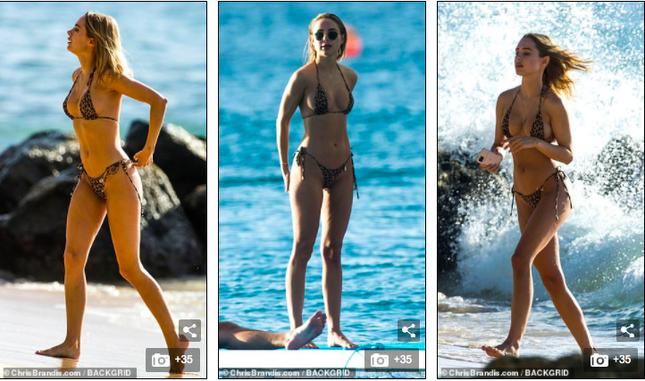Mẫu 9x Anh quốc mặc bikini bé xíu, tôn đường cong tuyệt mỹ ở biển ảnh 5