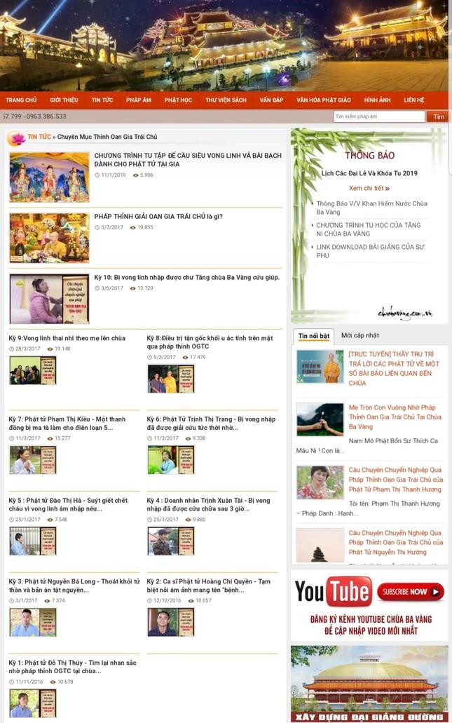 Hàng trăm bài viết 'gọi vong' và số tài khoản trên website chùa Ba Vàng biến mất ảnh 3