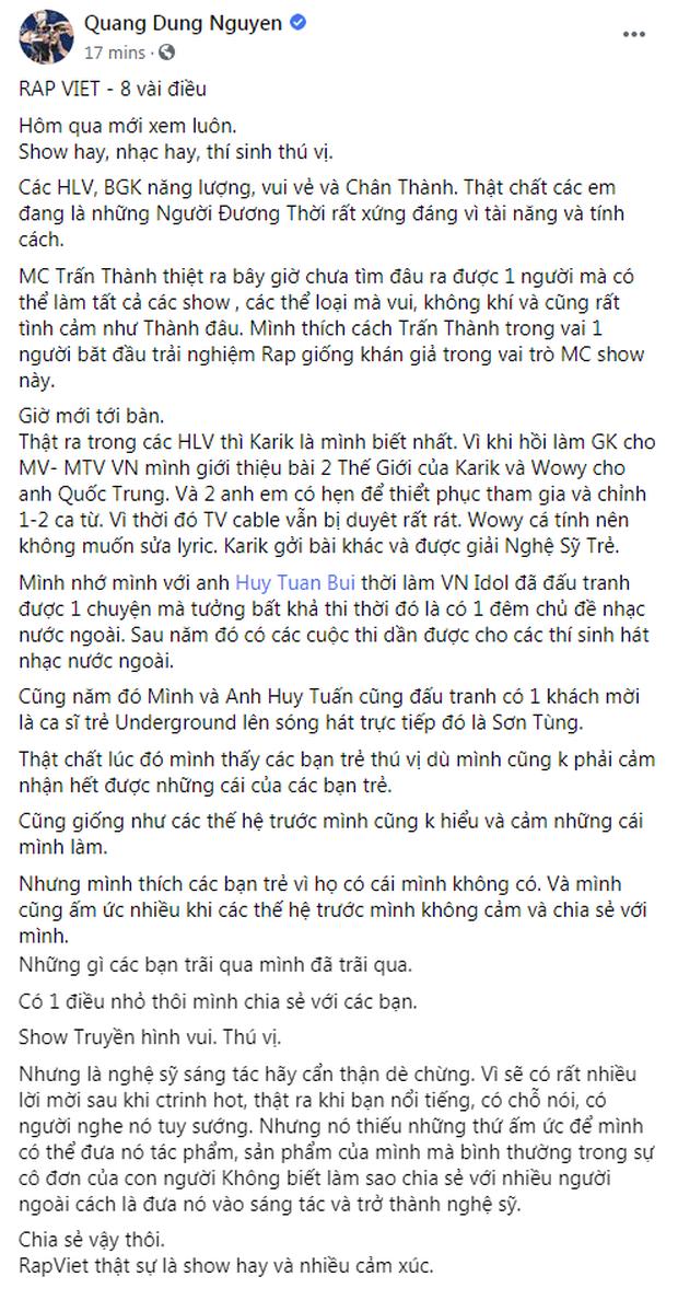 Đạo diễn Quang Dũng, nhạc sĩ Huy Tuấn tặng 'mưa' lời khen cho 'Rap Việt' và MC Trấn Thành ảnh 2