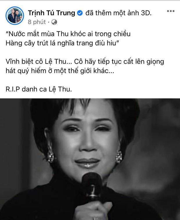 Nghệ sĩ Việt nghẹn ngào vĩnh biệt danh ca Lệ Thu: 'Mùa Thu đã tắt! ảnh 4