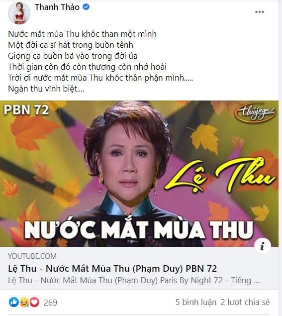 Nghệ sĩ Việt nghẹn ngào vĩnh biệt danh ca Lệ Thu: 'Mùa Thu đã tắt! ảnh 3