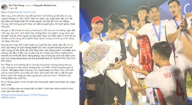Bùi Tiến Dũng tặng Khánh Linh màn cầu hôn ngay tại trận đấu kèm tâm thư 'ngọt lịm' ảnh 1