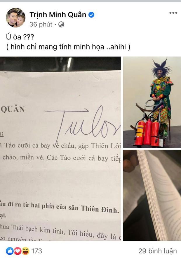 Ca sĩ Minh Quân đăng ảnh đóng Thiên Lôi trong Táo quân 'ú oà' fan ảnh 1