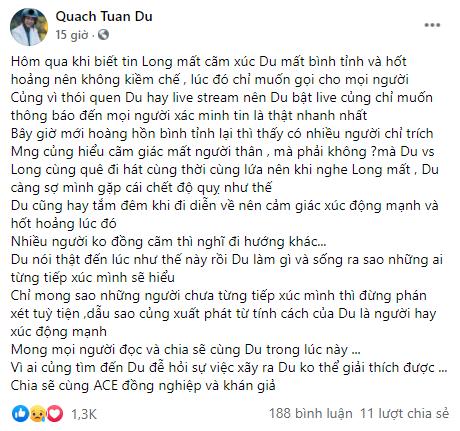Quách Tuấn Du lên tiếng khi quay livestream khóc lúc Vân Quang Long qua đời gây tranh cãi ảnh 1