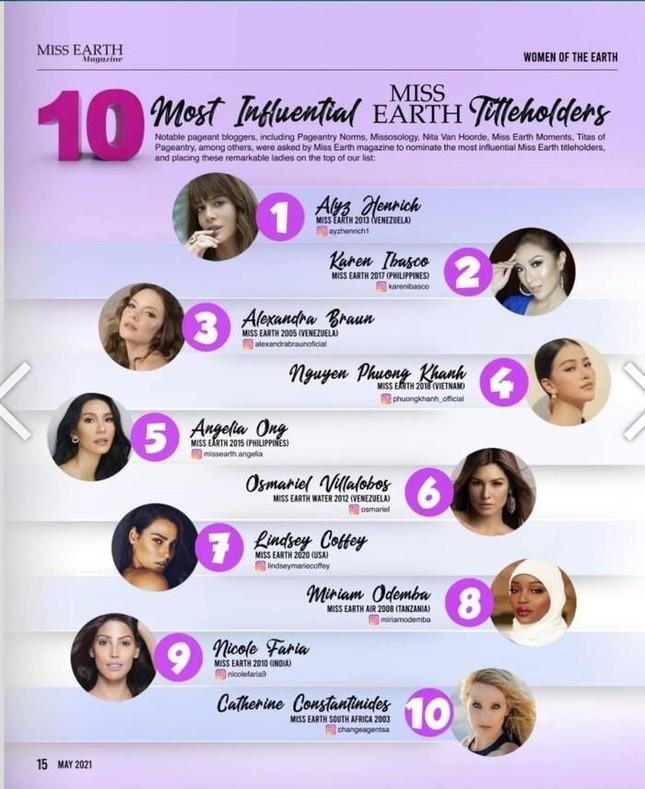 Công bố 10 người đẹp có tầm ảnh hưởng nhất Miss Earth, đại diện Việt Nam xếp hạng cao ảnh 1