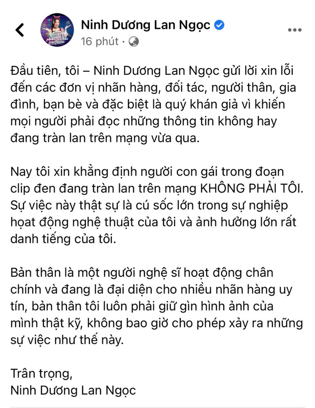 Ninh Dương Lan Ngọc chính thức lên tiếng về nghi vấn lộ clip 'nóng' ảnh 2