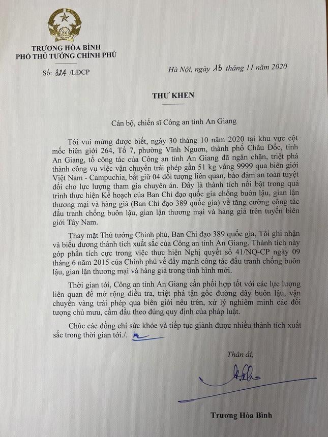 Vụ bắt 51kg vàng: Phó thủ tướng Trương Hòa Bình gửi thư khen Công an An Giang ảnh 1