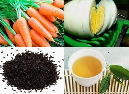 Trứng, vừng, trà xanh, cà rốt loại bỏ quầng thâm mắt ảnh 1