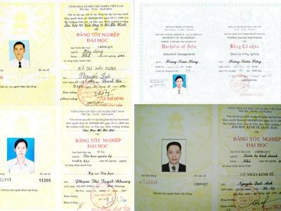 Một loạt bằng tốt nghiệp ĐH, tốt nghiệp THPT giả bị phát hiện trong năm 2008 Ảnh: Quang Phương