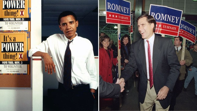 Ông Obama làm việc tại trường Luật của Đại học Chicago và tham gia cuộc vận động đăng ký cử tri tại bang Illinois năm 1992. Trong khi đó, ông Romney là một nhà tư vấn quản lý và hỗ trợ công ty cổ phần thành lập tư nhân Bain Capital. Năm 1994, ông Romney đã chạy đua vào ghế thượng viện tại Massachussetts tuy nhiên không thành công