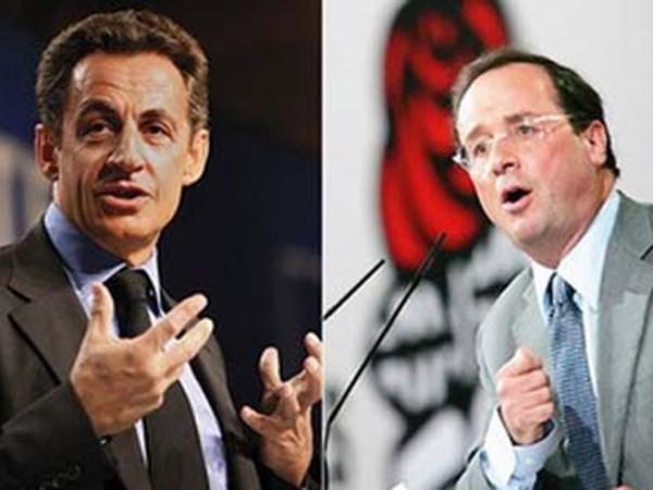 Hai ứng viên hàng đầu: Sarkozy (trái) và Hollande (phải)