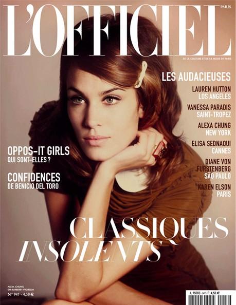 Trang bìa tạp chí L'Officiel, thể hiện: MC Alexa Chung, nhiếp ảnh gia Guy Aroche