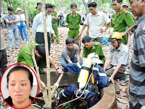 Lực lượng chức năng xuống giếng để tìm chứng cứ (ảnh lớn) và bà Lê Thị Hường (ảnh nhỏ)