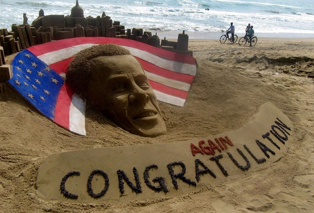 Tượng cát ông Obama tại một bãi biển ở Ấn Độ