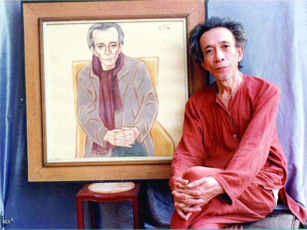 Nhà văn Kim Lân lúc sinh thời và bức chân dung do họa sĩ Nguyễn Thị Hiền thể hiện. Ảnh họa sĩ cung cấp