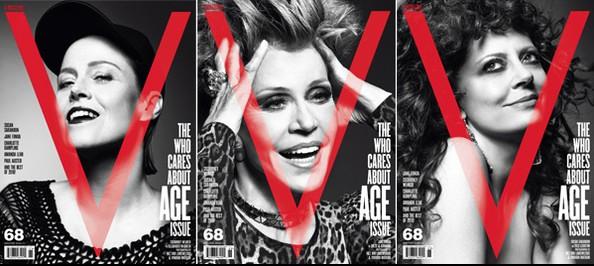 Trang bìa tạp chí V, gương mặt thể hiện: Sigourney Weaver, Jane Fonda, Susan Sarandon, nhiếp ảnh gia Inez van Lamsweerde & Vinoodh Matadin