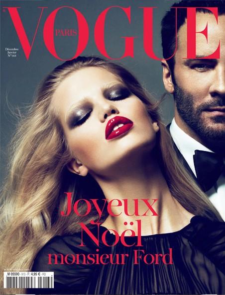 Bìa tạp chí Vogue, phiên bản Pháp, thể hiện: siêu mẫu Daphne Groeneveld và nhà thiết kế Tom Ford, nhiếp ảnh gia Marcus Piggott