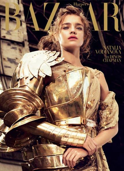 Trang bìa tạp chí Harper's Bazaar, phiên bản Anh, siêu mẫu Natalia Vodianova, nhiếp ảnh gia Michelangelo