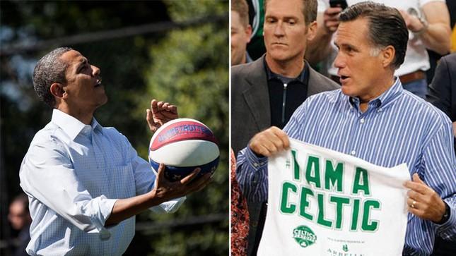 Ông Obama là người đam mê thể thao, đặc biệt là môn bóng rổ. Bên phải của ảnh là hình ảnh ông Mitt Romney đang cầm chiếc áo của đội Boston Celtics