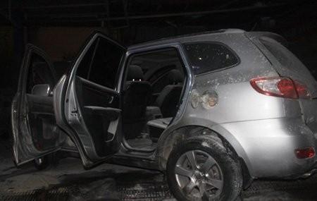 Chiếc SantaFe bị cháy tại cửa hàng xăng dầu. Ảnh: Petrotimes