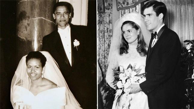 Ảnh cưới của ông Obama và bà Michelle tại Chicago năm 1992 và ảnh cưới của ông Romney và bà Ann sau khi ông Romney từ Pháp trở về