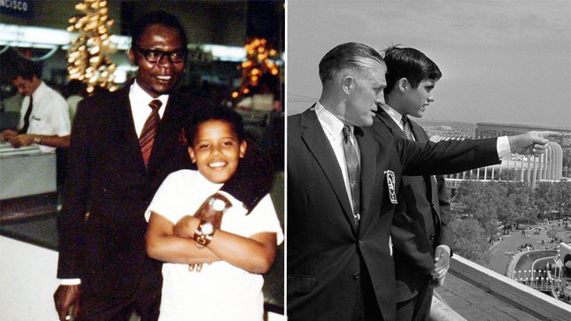 Cậu bé Obama (ảnh trái) trong vòng tay của cha tại Hawaii. Cha của Obama là một nhà kinh tế Kenya và rất ít xuất hiện bên cạnh ông Obama trước công chúng. Còn cậu bé Romney đang được người cha chỉ bảo tại một Hội chợ quốc tế New York